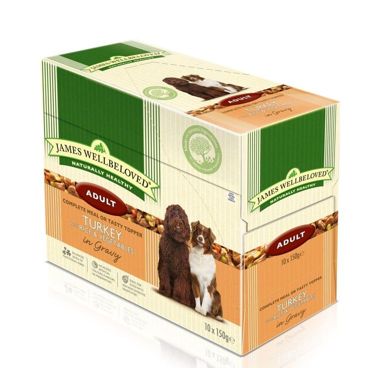 James Wellbeloved Adult Dog Turkey Pouches 10 x 150g James Wellbeloved Adult Dog Food Pouches with Turkey and Rice is a delicious complete wet food  or makes the perfect top up to your dog's normal dry food.