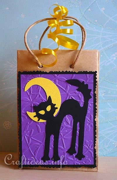 Halloween Gift Bag - Love the embossed background paper!!