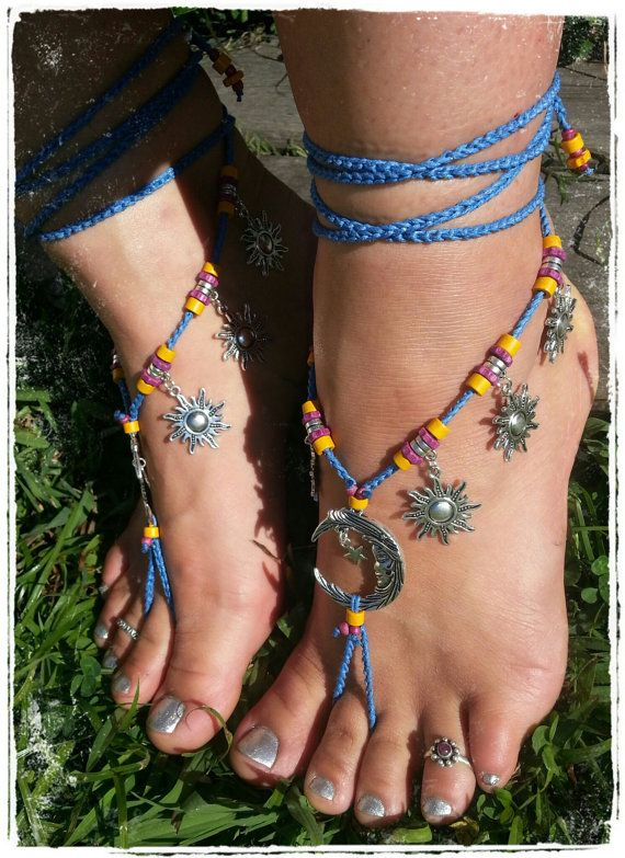 Moon and sun barefoot sandals. Barefoot wedding. by 10TempleToes, $60.00