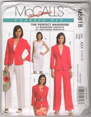 McCall's M5818 AAX Classic Fit Jacket Dress Pants Uncut Pattern - Free Shipping : USA and Canada