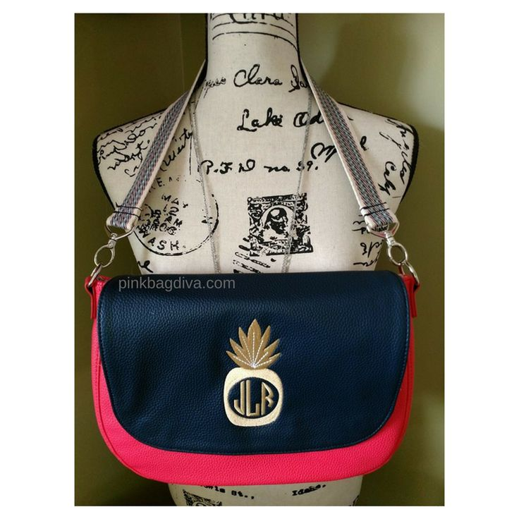 """My New """"Studio Thirty-One"""" purse in Calypso Coral with a Navy Flap and Sunset Gold Pineapply monogram with a Navy Web Shoulder Strap.....ALL Interchangeable!!! #studiothirtyone #buildabag #byob #thirtyone #pinkbagdiva #coral #pineapple #monogramit"""