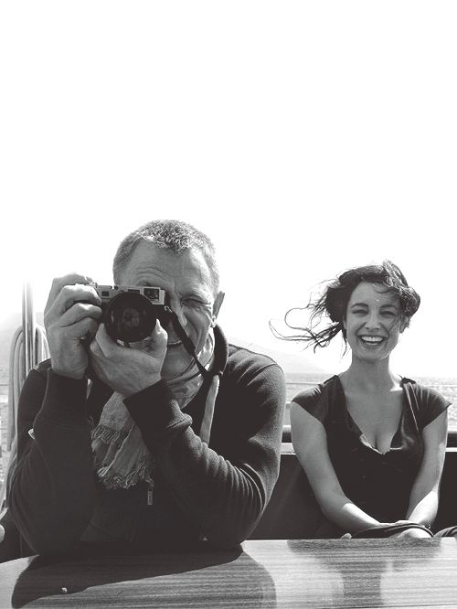 on the set of Skyfall w/ Daniel Craig & Bérénice Marlohe (French-Chinese-Cambodian actress and latest Bond girl)