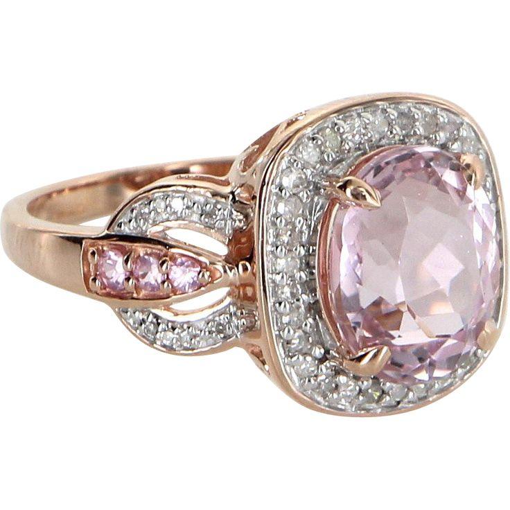 Morganite Diamond Cocktail Ring Estate 10 Karat Rose Gold Vintage Fine Jewelry Sz 9