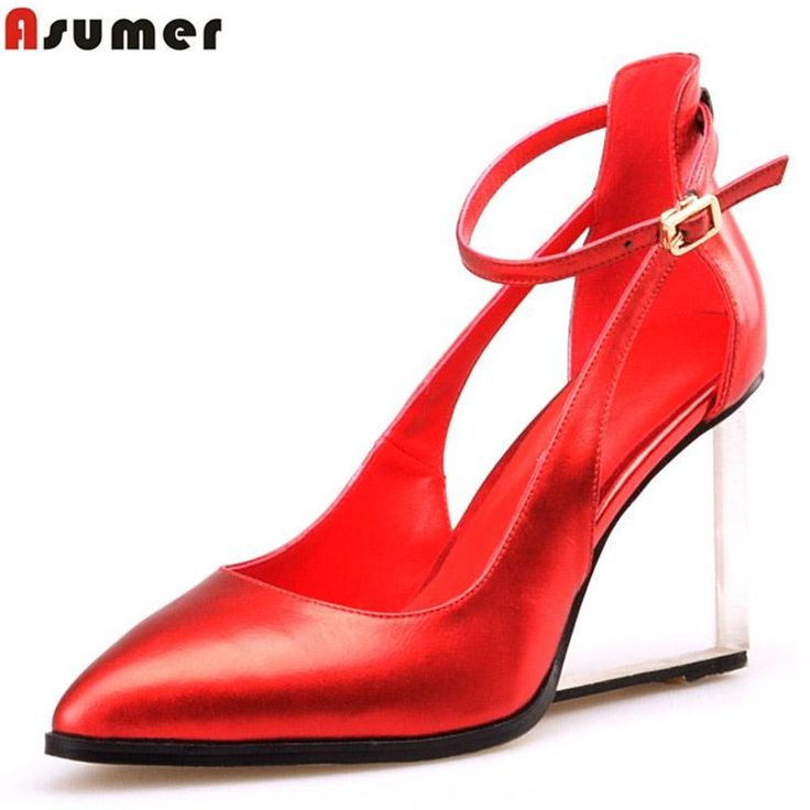 48.36$  Watch now - http://alirat.worldwells.pw/go.php?t=32685493350 - wedges pointed toe novelty unique party dress shoes women pumps woman shoes high heels summer genuine leather soft leather 48.36$