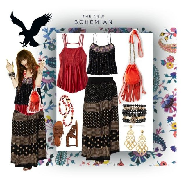 The New Bohemian with American Eagle Outfitters: Contest Entry by wasupfirefairy on Polyvore featuring American Eagle Outfitters, Givenchy, Samantha Wills, Tory Burch, Bijoux de Famille and aeostyle