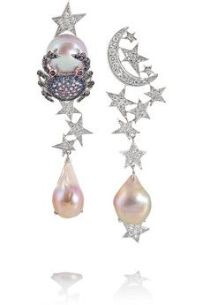 Lydia Courteille 18-karat white gold multi-stone earrings | NET-A-PORTER