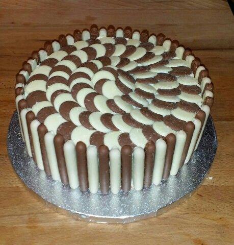 White Chocolate/Milk chocolate Button Cake