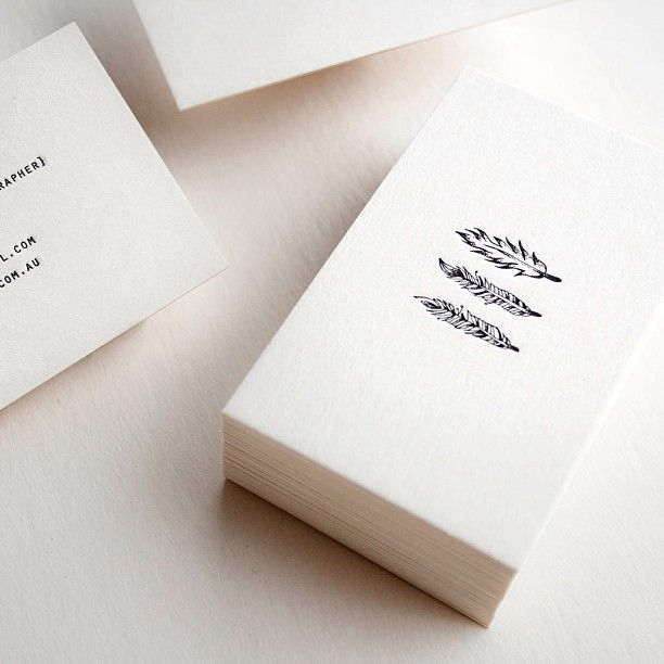 Feather Letterpress Business Cards