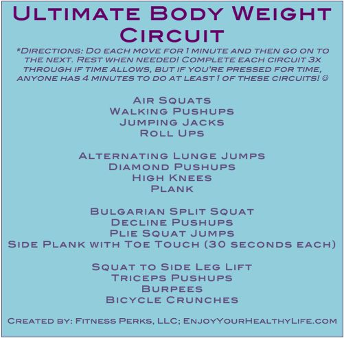 Ultimate Body Weight Workout -can be done anywhere. #NoExcuses via @FitnessPerks