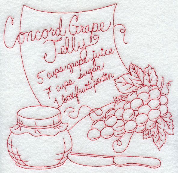 redwork images   redwork design for the basic ingredients in Concord grape jelly ...