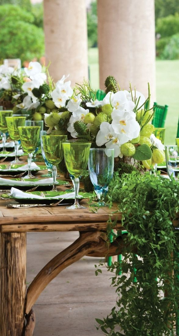Colorful green tablescape....I would love to do this for a party with friends.