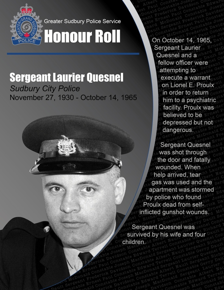 Sergeant Laurier Quesnel  • Sudbury City Police