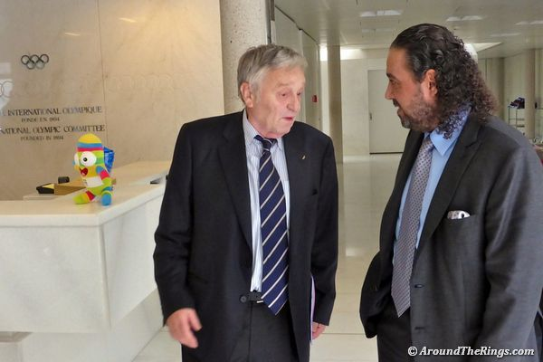 FIS president Gian-Franco Kasper and ANOC president Sheikh Ahmad chat in IOC lobby.