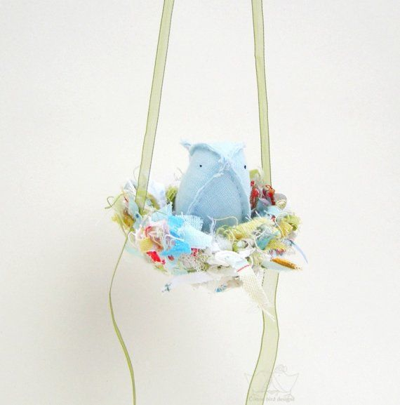Nursery Mobile Cradle Petite Blue Bird in Nest of Threads Baby Boy  Room Decor Soft Sculpture Textile Cotton Bird Designs on Etsy, £25.00