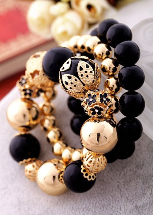 Fashion beaded flower gold black stretchable elastic womens Bracelets Bangles