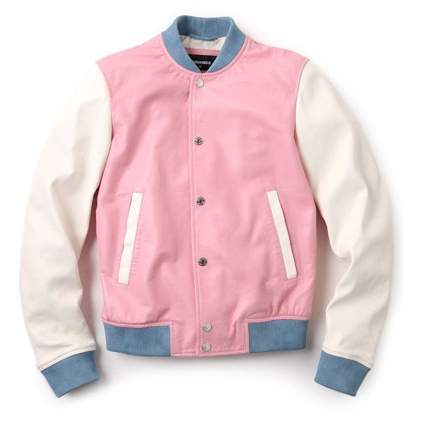 DSQUARED2 Pastel Leather Bomber (1,505 MYR) ❤ liked on Polyvore featuring outerwear, jackets, tops, pink, bomber jacket, genuine leather jacket, red leather jacket, leather jacket and pink bomber jacket