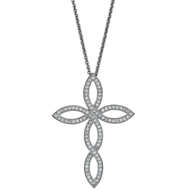 Sterling Silver Micropave Cubic Zirconia Twist Cross Pendant