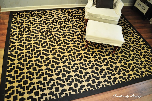 Stenciled Rug Tutorial (hopefully mine will end up looking this good)