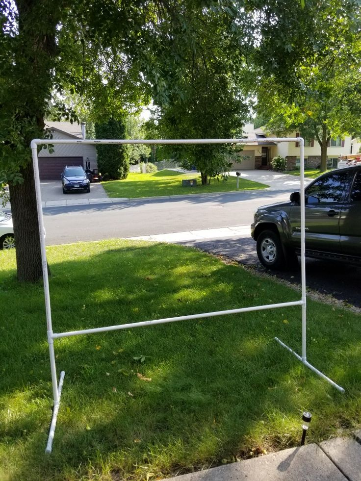 Diy back drop frame.   This frame was 8.63 at menards. 3 10 foot pvc that was 3/4 inch. 2 3/4 elbows. 4 3/4 tees 4 caps. All are slip in not the threaded, none are glued. This was all  sched- 40 pipe. My husband cut pipe to what we needed it for.  Approx 6 gr8 tall and 8 ft wide.