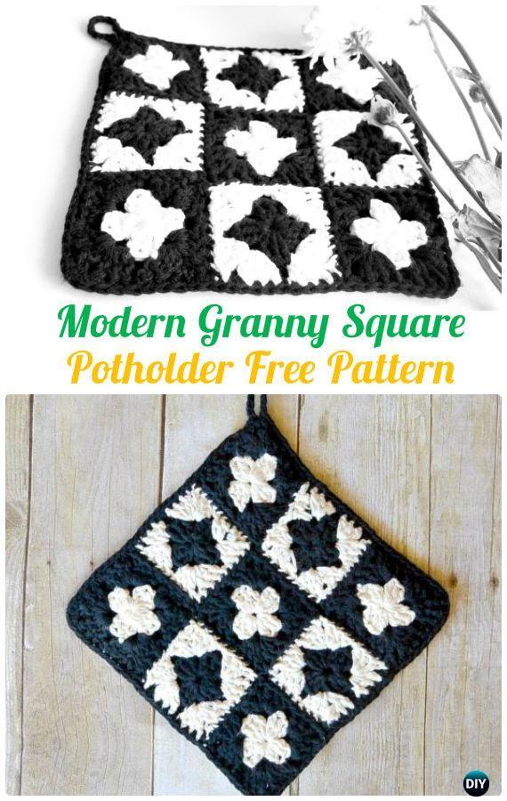 Crochet Modern Square Potholder FreePattern - Crochet Pot Holder Hotpad Free Patterns