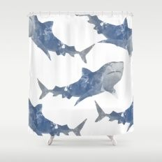 The World is Full of Sharks Shower Curtain