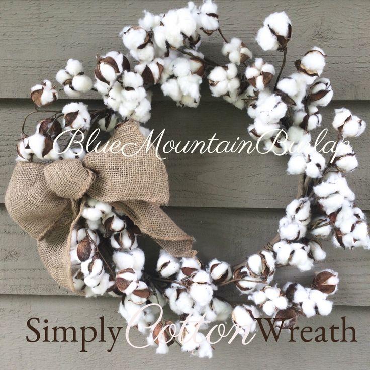 Cotton Wreath, Simply Cotton Wreath, Fall Wreath, Cotton Burlap Wreath, Cotton Boll Wreath, Autumn Wreath, Double Doors Wreath by BlueMountainBurlap on Etsy https://www.etsy.com/listing/490654491/cotton-wreath-simply-cotton-wreath-fall