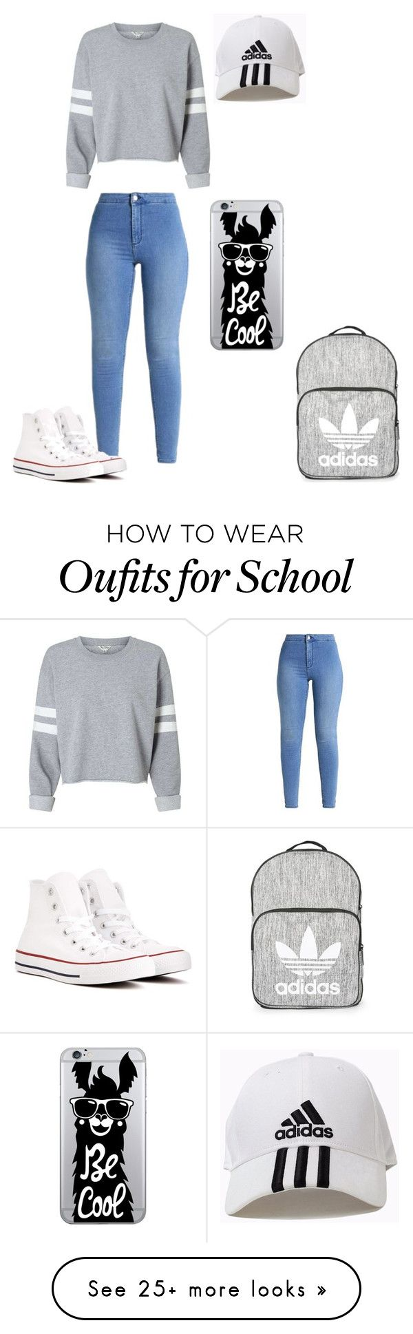 """Caydence back too school"" by emilio19 on Polyvore featuring Converse, Topshop, adidas and OTM Essentials"