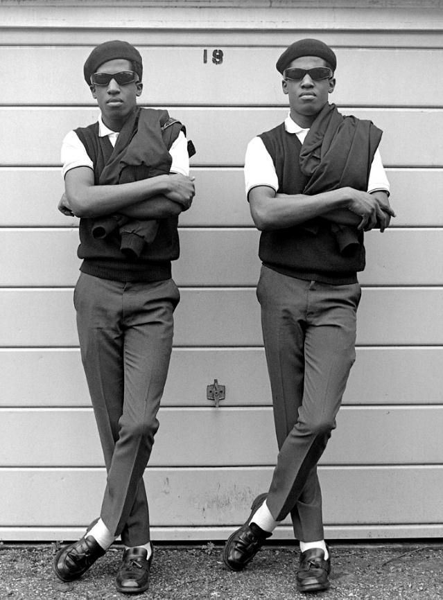 The dapper Islington Twins - Chuka & Dubem Okonkwo (Janette Beckman)--they still dress alike, more than thirty years later.