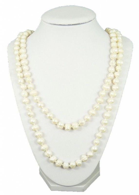 Náhrdelník říční perly bílé dlouhé 10769 | Bižuterie Kozák