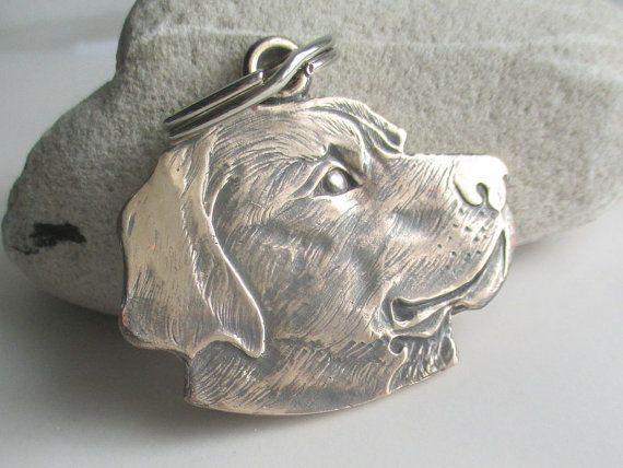 Labrador dog solid bronze keyring/keychain or dog tag: hairy