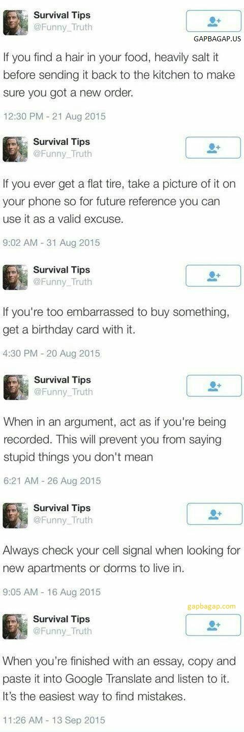 Top 8 Funny Tweets By Survival Tips / These are neat, but I think everyone understands that it's when people are angry they say what they really mean.