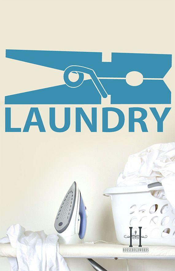 Laundry Decor Large Clothespin Vinyl wall decal words, home decor cottage chic
