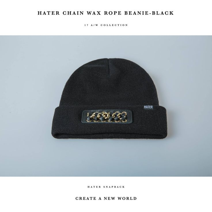 【 New Available 】 HATER CHAIN WAX ROPE BEANIE 【 Color 】 ( Black / White ) 【 HATer Official 】
