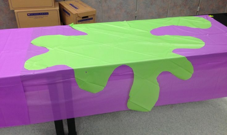 Scholastic Book Fair Spring 2013. We used the table cloths that came with the kit and cut them out like slime for an accent on the tables :)