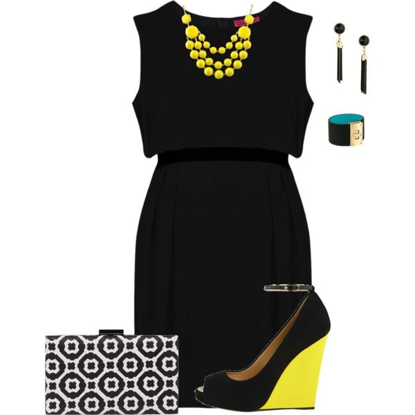 A fashion look from March 2015 featuring woven dress, wedge heel shoes and clasp purse. Browse and shop related looks.