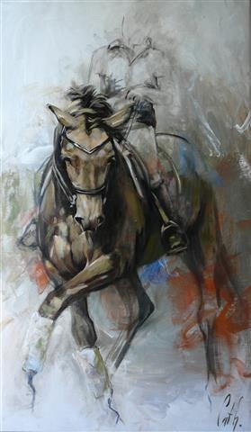 "HORSES Dressage ""Elan 1 ""  70 x 120 cm Oil painting by Cath Driessen http://www.cathdriessen.nl/ https://www.facebook.com/pages/Cath/447137662037857"