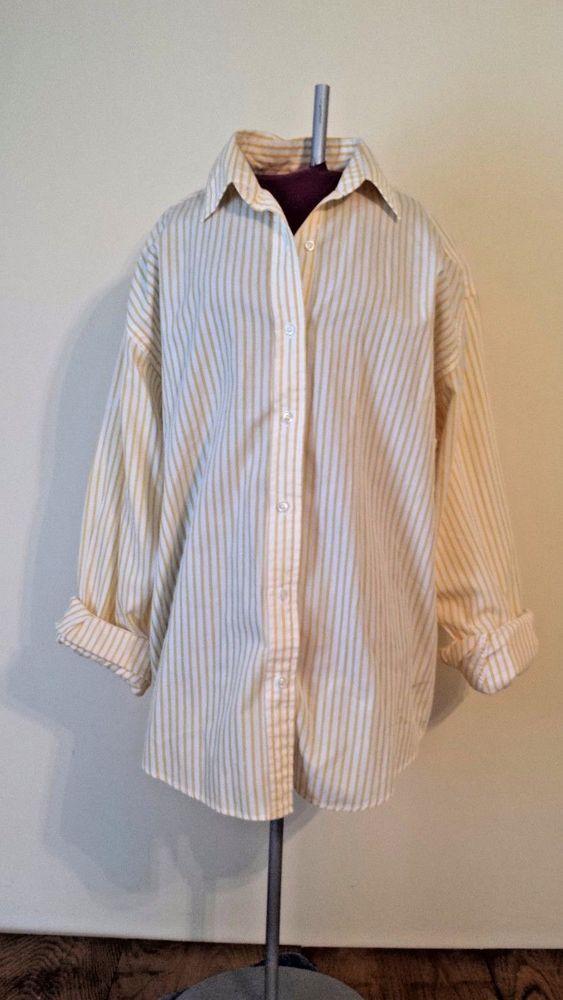 Brooks Brothers Yellow Striped Oxford Button Down Shirt Women's sz M Medium Top #BrooksBrothers #ButtonDownShirt