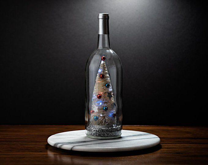 Patriotic Christmas Tree Wine Bottle Decor Christmas Table