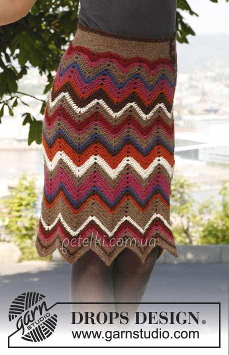 Разноцветная юбка зигзагами крючком от Drops. Описание вязания, выкройка