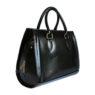 Vintage Gladstone Style Black Leather Handbag - Down to £69.99 from £99.99