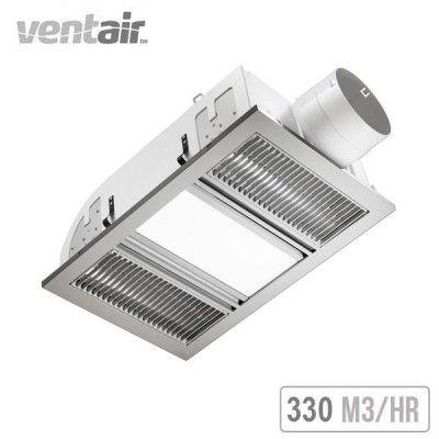 Ventair Airbus 3 In 1 Exhaust Fan Heat And Light Silver Exhaust Fan Bathroom Heater Fan