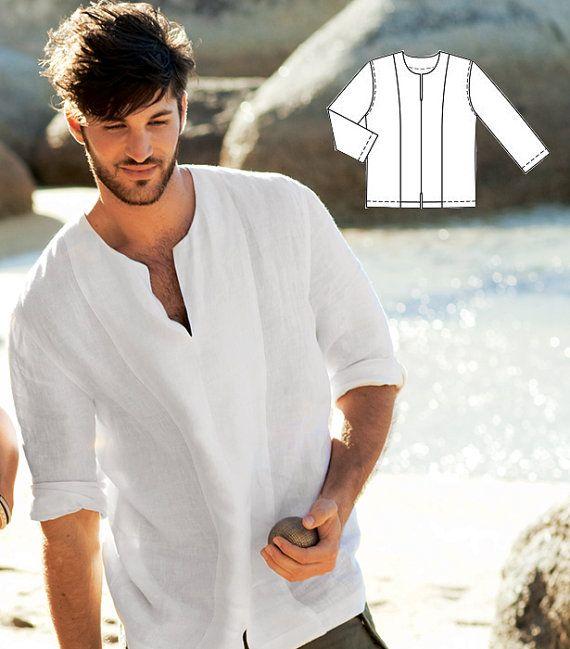 For my boo for our beach wedding....a girl can dream. Free shipping/Man white linen shirt beach wedding by Maliposhaboys, $61.00