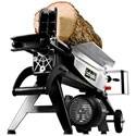Earthquake 5-Ton Electric Mini Log Splitter. Since you can plug it into any household outlet you can work inside where it's warm, turning small seasoned logs into useful firewood.    Wheels on one end and an easy-grip handle let you store it out of the way until you need it. The built-in log cradles keep the wood on the beam so you don't have to bend over as much getting the split wood stacked.