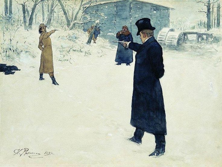 Eugene Onegin and Vladimir Lenskys Duel (1899) by Ilya Repin