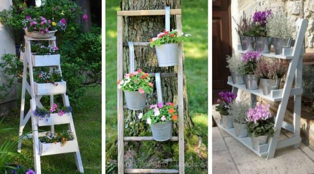 8 sposobów na wykorzystanie drewnianej  drabiny w ogrodzie