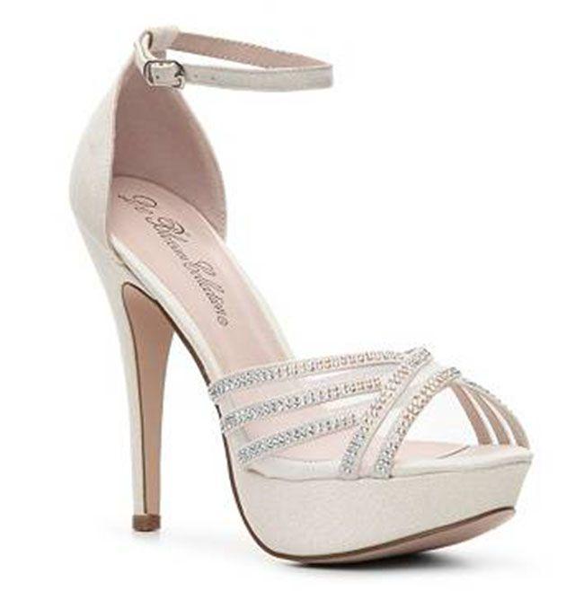 Sparkly High Heel Sandal | White Wedding Shoes