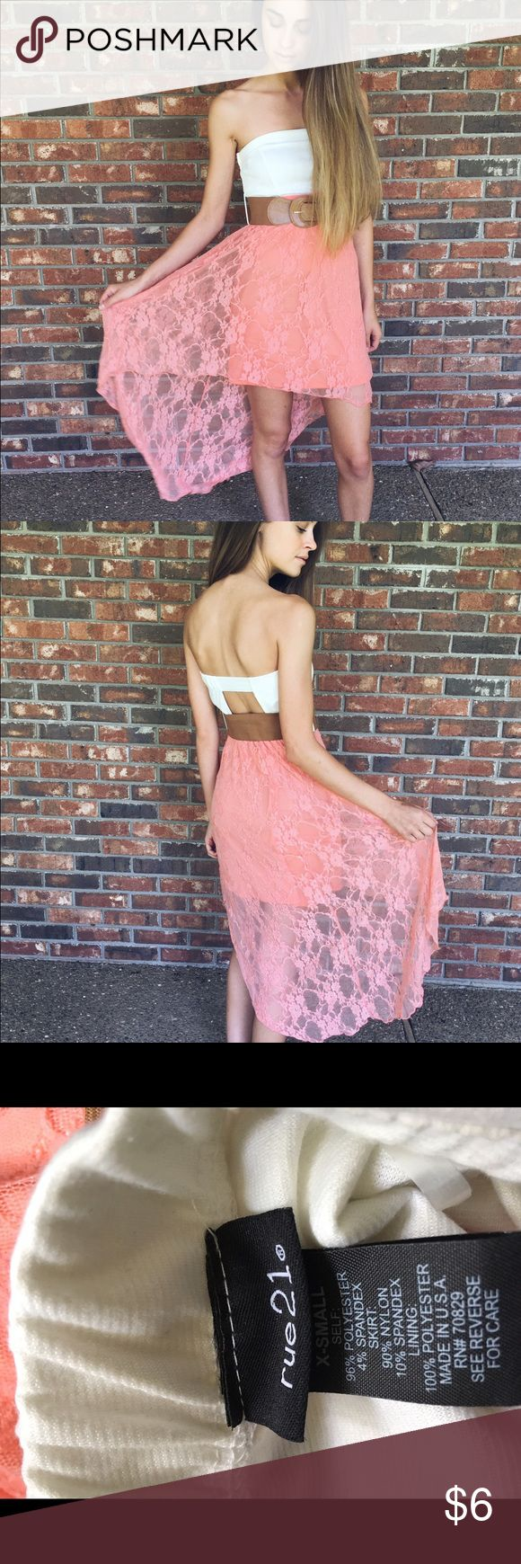 Rue21 Strapless Sundress Like-new strapless sundress with a high-low hem and open back from Rue21. Belt included. Rue 21 Dresses Strapless