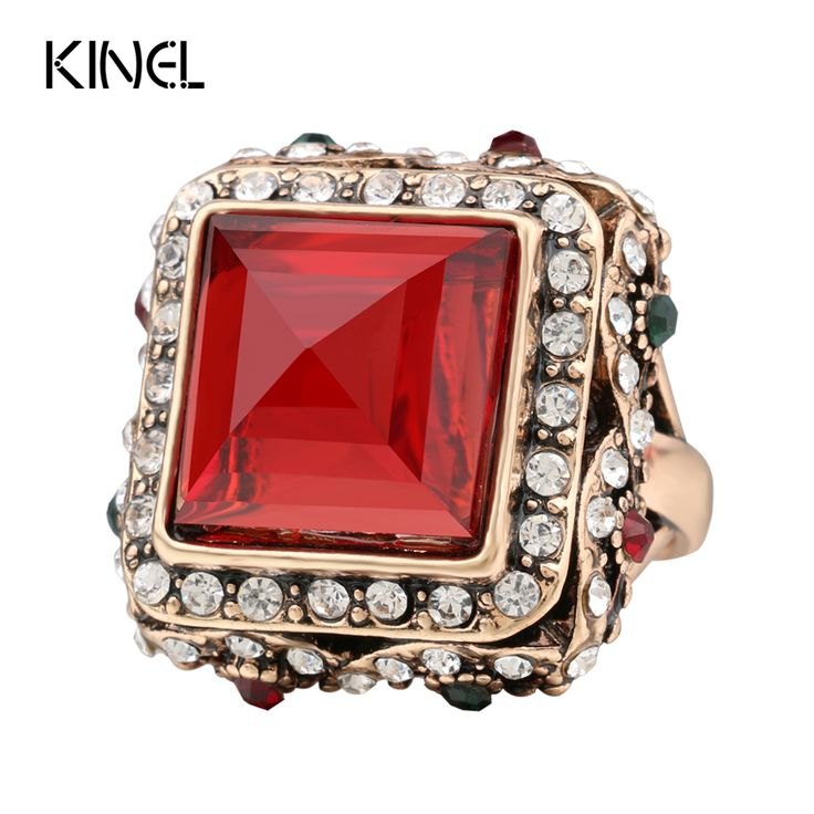kinel Charm Big Ring Vintage Jewelry Plating Ancient Gold Luxury Crystal Rings For Women Lndia Bohemia Style Jewelry