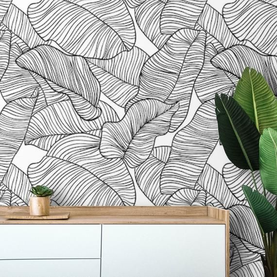 Wallpaper Banana Leaves Peel And Stick Removable Wall Paper Etsy Stick On Wallpaper Palm Leaf Wallpaper Peel And Stick Wallpaper