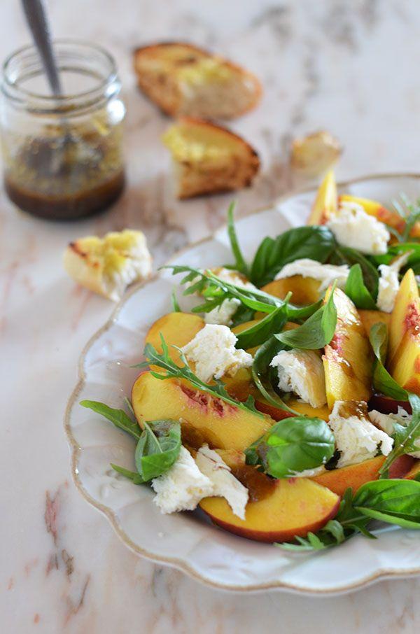 peach, mozzarella and basil salad